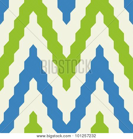 Pattern With Zig Zag In Blue And Green Colors
