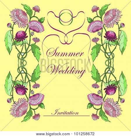 summer wedding invitation design with pink chrysanthemums and rings