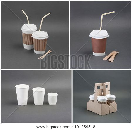A Set Of Paper Coffee Cup On A Gray Background.