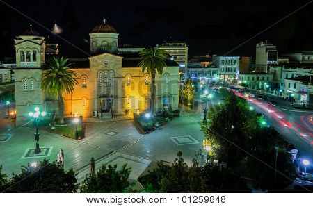 Central Square In Argos At Night, Greece