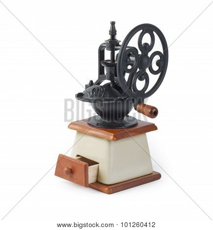 Vintage Coffee Mill Isolated On White Background.