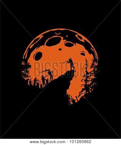 Zombie Silhouette Scenery, orange Moon Background