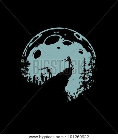 Zombie Silhouette Scenery, grey Moon Background