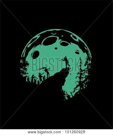 Zombie Silhouette Scenery, green Moon Background