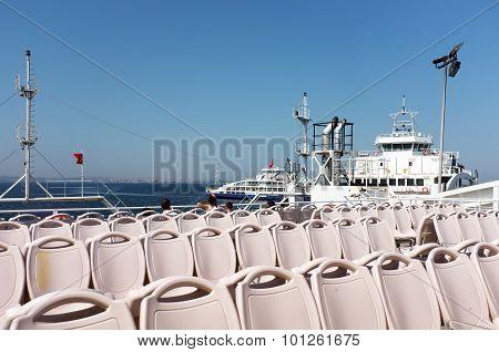 Empty seats on ferryboat