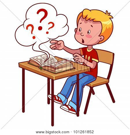 Surprised Schoolboy Behind A School Desk With A Book. Vector Illustration On A White Background.