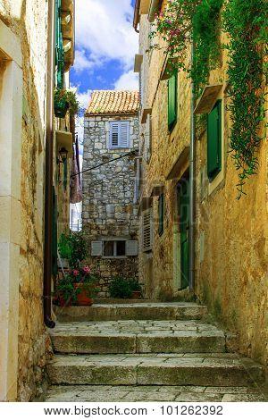 medieval lane in the old town of Hvar, Croatia