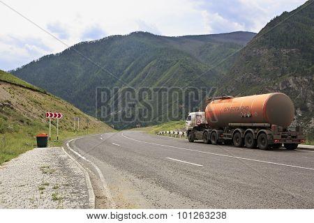 Tanker on Chuysky Trakt in Altai Republic.
