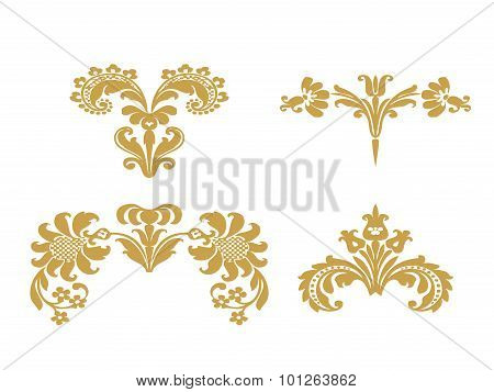 Vector Abstract Gold Set Flowers Elements Design Isolated
