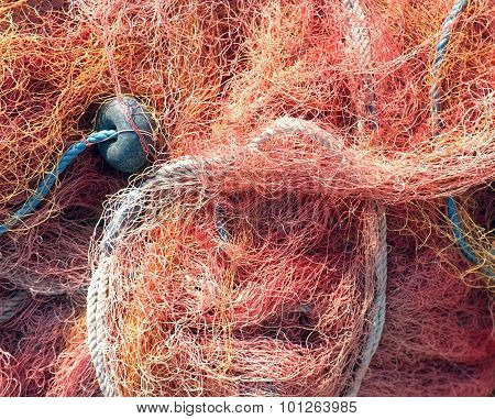 Close up shot of fishermen's net