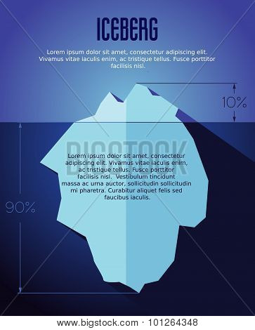 Vector Flat Iceberg Concept Illustration With Infografic.