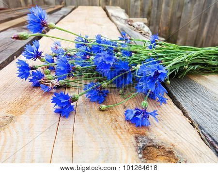 Cornflower On Wooden Background. Eco Flowers. Selective Focus, Space In The Zone Blurring Compositio