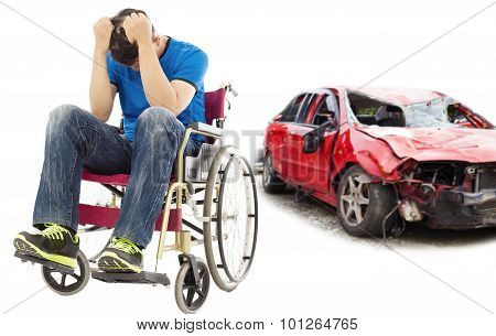 Stress And Disabled Patient With Car Accident Concept