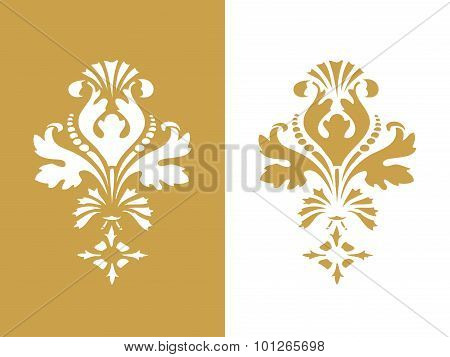 Vector Abstract Gold Flower Element Design Isolated