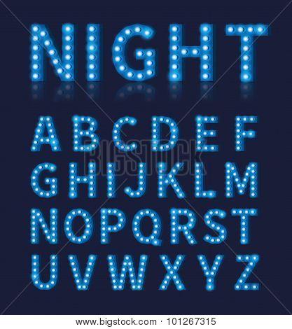 Vintage blue light bulb lamp font or alphabet