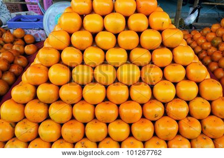 Fresh Oranges Background ,orange Honeysuckle Species, Stack On The Market For Sale.