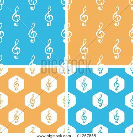 Treble clef pattern set, colored