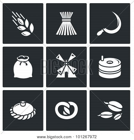 Mill And Bread Icon Set