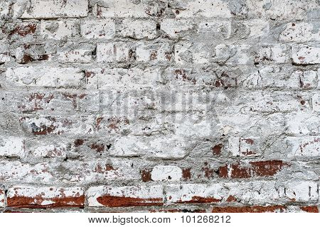 Grunge Red Brick Wall Painted By White Color