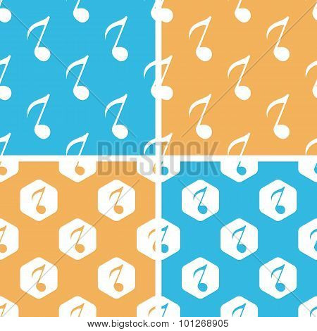 Eighth note pattern set, colored