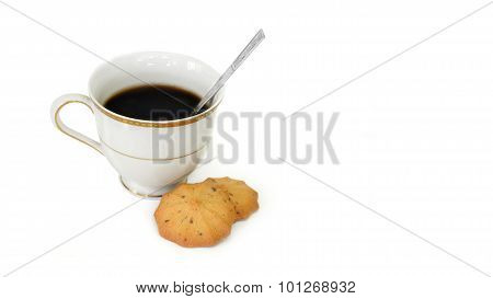 Black Coffee And Cookies Isolate On White Background