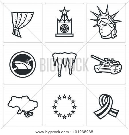 Usa Russia Conflict Icons. Vector Illustration