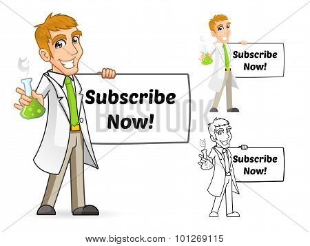 Scientist Cartoon Character Holding a Beaker and Banner