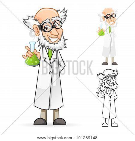 Scientist Cartoon Character Holding a Beaker Feeling Great