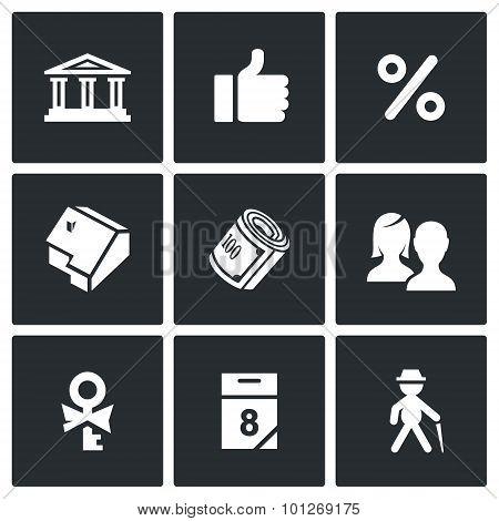 Mortgage Credit Lending Icons Set. Vector Illustration