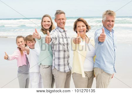 Multi generation family standing beside one another at the beach