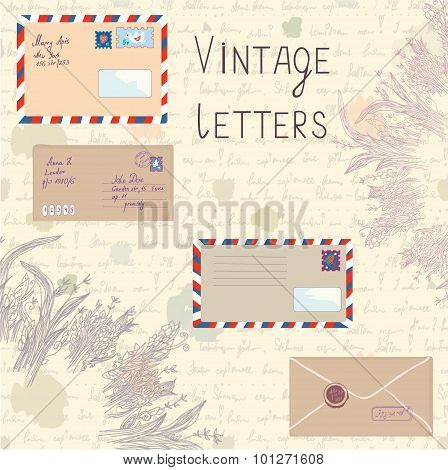Vintage Letters And Paper Set With Floral Elements