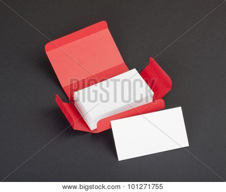 White Business Cards In The Red Box.
