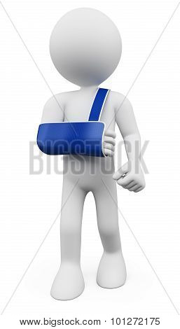 3D White People. Man With Arm In Sling