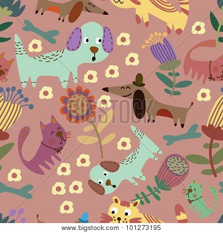 Cute Childish Seamless With Funny Pets In Flowers. Seamless Pattern Can Be Used For Wallpaper, Patte