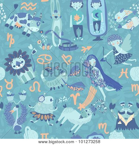 Cute Retro Seamless Pattern With Horoscope.aries, Taurus, Gemini,cancer,leo,v Irgo,libra,scorpio, Sa