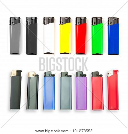 Set Of Colored Lighters On White Background.