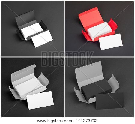 Set Of Business Cards In The Boxes.