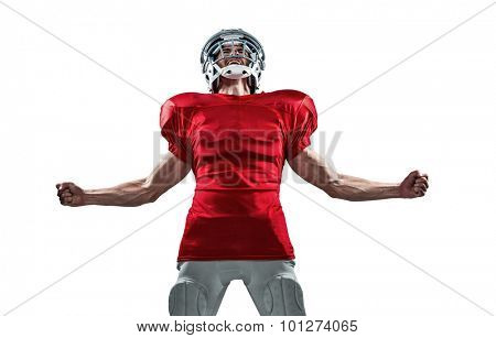 Aggressive American football player in red jersey screaming against white background