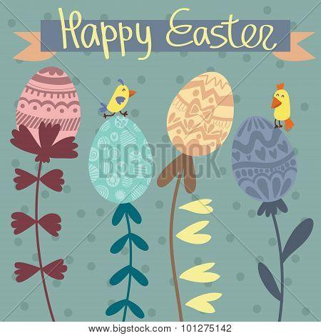 Stylish Vector Card. Easter Eggs-flowers And Cute Birds