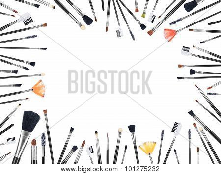 Many Makeup Brushes Of Different Size And Color White Background