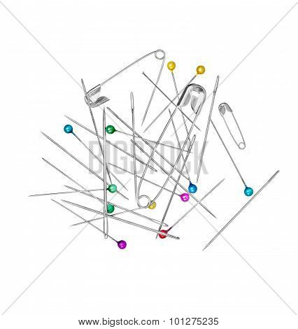 Needles And Pins On A White Background