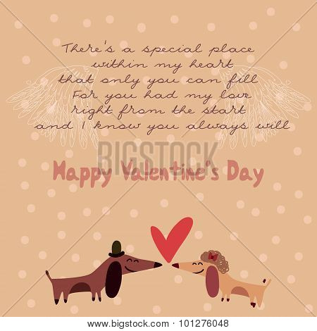 Happy Valentine's Day Card With Cute Dachshunds. Stylish Romantic Invitation Card In Vector
