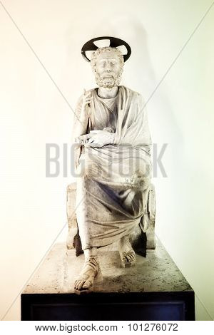 Statue Of St. Peter In The Crypt Beneath The Basilica Of St. Peter's Basilica In The Vatican