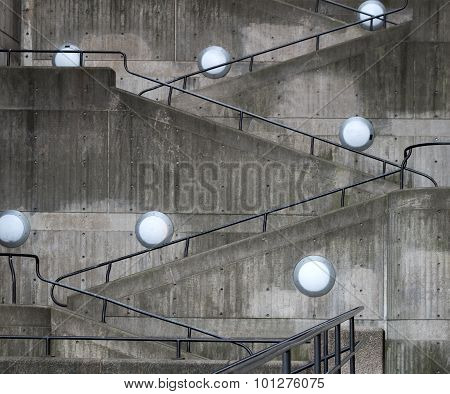 Concrete Wall With Staircase