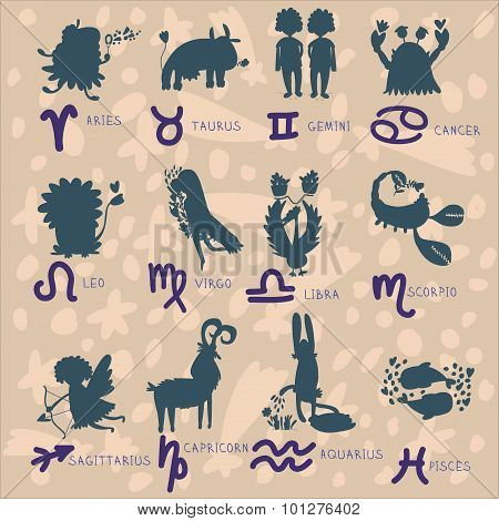 Zodiac Signs (zodiac - Black Silhouettes, Set Of Zodiac Signs, Stylized Icons Of Zodiac Signs, Set O
