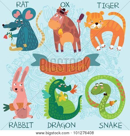 Cute Chinese Zodiac-vector Set. Rat, Ox, Tiger, Rabbit, Dragon, Snake