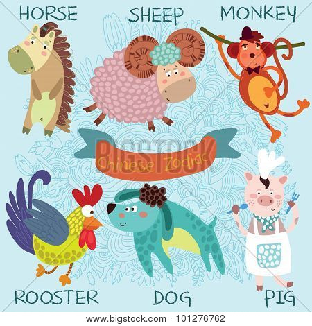 Cute Chinese Zodiac-vector Set. Horse, Sheep, Monkey, Rooster, Dog, Pig