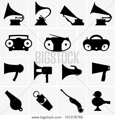 Gramophones, megaphones, whistles, boomboxes