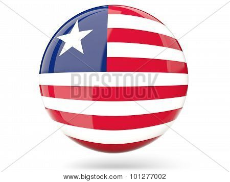 Round Icon With Flag Of Liberia
