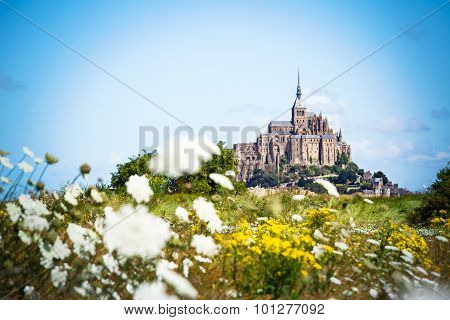 Mont Saint Michel between flowers